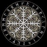Ster respekt, ster terror, Islandzkie magiczne klepki z scandinavian wzorem, Aegishjalmur royalty ilustracja