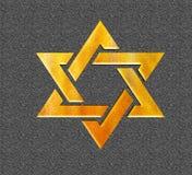 Ster van gele 3D Joods van David Gold Stock Fotografie