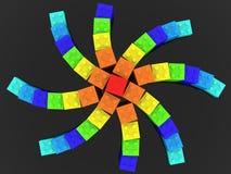 Ster van stuk speelgoed bakstenen op zwarte achtergrond wordt gebouwd die vector illustratie
