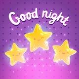 Sterachtergrond. Goede nacht vectorillustratie Stock Afbeeldingen