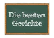 Sterben Sie besten Gerichte - die besten Teller in der deutschen Tafelmitteilung Vektorillustration lizenzfreies stockbild