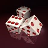 sterben weißes Kasino 3D rote Punkte Stock Abbildung