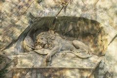 Sterbender Lion Wall Monument, Luzerne die Schweiz Stockbilder