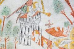 Sterbliche auf dem Weg zum Himmel, mittelalterliches Wandbild Stockfotografie