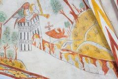 Sterbliche auf dem Weg zum Himmel, mittelalterliches Wandbild Stockbild