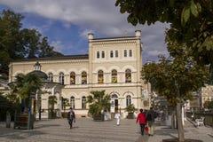 Stereet Scene in Karlovy Vary,Czech famous SPA place Stock Photo