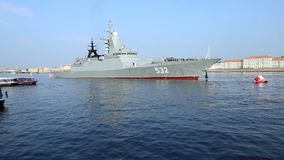 Steregushchy-class corvette Boiky of the Russian Navy stock video footage