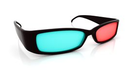 Stereo 3D glasses on white. Red cyan anaglyph Royalty Free Stock Photography