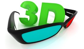 Stereo 3D glasses on white. Red cyan anaglyph Royalty Free Stock Image