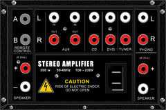 Stereo amplifier, connection panel. Raster illustration Stock Photography