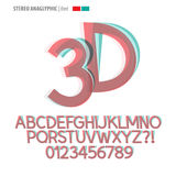 Stereo Anaglyphic Alphabet and Digit Vector Royalty Free Stock Photos