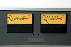 Stereo Audio Level meters. Stereo VU meters of professional audio tape recorder stock photos