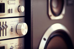 Stereo Audio Music Rack Component Control Knob. Closeup Blurred royalty free stock photo