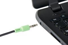 Stereo audio terminal of laptop Royalty Free Stock Photos