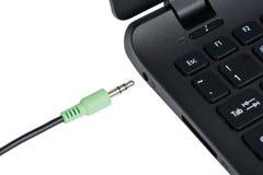 Stereo audio terminal of laptop Stock Image