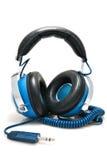 stereo- blå hörlurar arkivfoton
