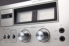 Stereo Cassette Tape Deck Analog controls Vintage Royalty Free Stock Photo
