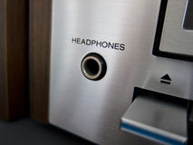 Stereo Cassette Tape Deck headphones input closeup Stock Photo