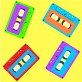 Stereo cassette in vintage style pattern stock illustration