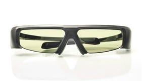 Stereo 3D TV: active shutter glasses on white. Stereo 3D TV: active shutter glasses over white background Royalty Free Stock Photo