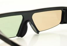 Stereo 3D TV: close up of active shutter glasses. On white Stock Images