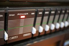 Stereo equalizer. A stereo`s equalizer with the power on stock photo