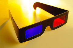 Stereo glasses. Yellow blue and red colours stock photos