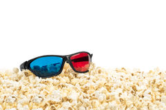 Stereo glasses and popcorn Stock Image