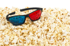 Stereo glasses and popcorn Stock Photos