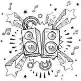 Stereo- högtalare på retro bakgrund royaltyfri illustrationer