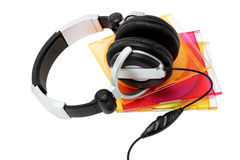 Stereo headphone and CD's Royalty Free Stock Photography