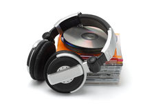 Stereo headphone and compact dics Royalty Free Stock Images