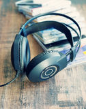 Stereo headphone and compact discs Stock Images