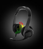 Stereo headphones. For listening of qualitative music with microphone stock images