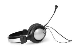 Stereo headset. Headphones with microphone isolated on white Royalty Free Stock Photography
