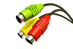 Stereo Jack Plug Cable. 3d illustration of colorful stereo jack plug cable Royalty Free Stock Images