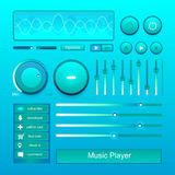 Stereo music player volume button control set vector Stock Image