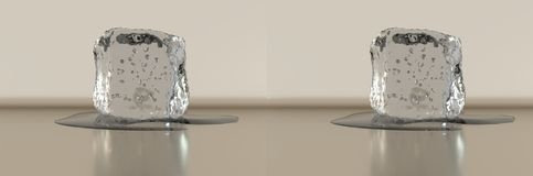 3D rendering. Stereo side by side. Ice cube with some water. Royalty Free Stock Image