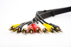 Stereo pins with cord Royalty Free Stock Photography
