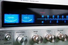Stereo receiver. Vintage stereo amplifier with tuner royalty free stock image