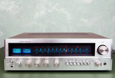 Stereo receiver. Vintage stereo amplifier with tuner Stock Photography