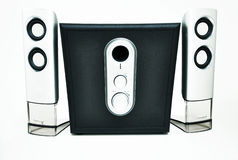 Stereo sound system. Black and silver stereo speaker with adjustable sound Royalty Free Stock Images