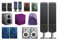 Stereo sound system icons set, cartoon style stock illustration