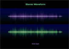 Stereo sound waveform. Blue and green stereo sound or music waveform Stock Photos