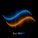 Stereo sound waveform. Blue and orange stereo sound or music waveform Royalty Free Stock Image