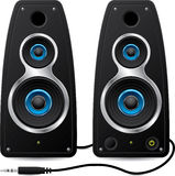 Stereo speakers with plug Royalty Free Stock Photos