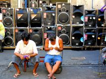 Stereo speakers sold in stores and in the streets of quiapo, manila, philippines in asia Stock Photos