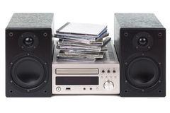Stereo with a stack of CDs. Over white background Stock Photo