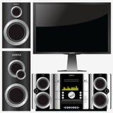 stereo- surroundsystem Arkivfoto