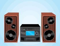 Stereo system. With wooden speakers Royalty Free Stock Photos